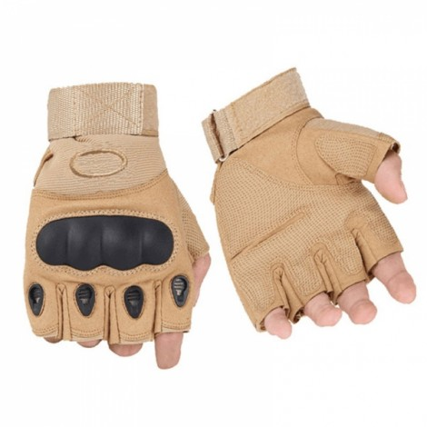 Outdoor Tactical Microfiber Half Finger Gloves for Riding Camping Hiking Sand Color L