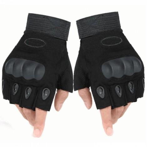 Outdoor Tactical Microfiber Half Finger Gloves for Riding Camping Hiking Black M