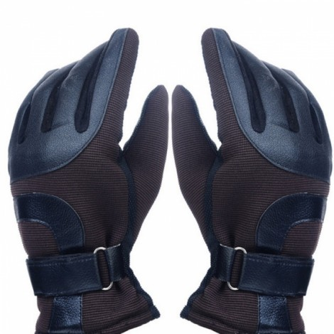 Men Winter Outdoor Thickened Warm Windproof Antiskid Driving and Ski Gloves Coffee