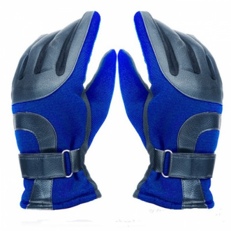 Men Winter Outdoor Thickened Warm Windproof Antiskid Driving and Ski Gloves Blue
