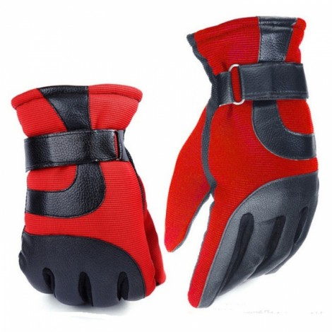 Men Winter Outdoor Thickened Warm Windproof Antiskid Driving and Ski Gloves Red