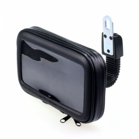 Motorcycle Phone Holder Rearview Mirror Mount Mobile Phone Case Bag Black XL
