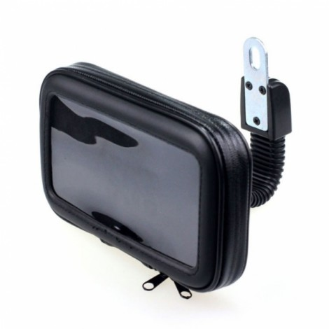Motorcycle Phone Holder Rearview Mirror Mount Mobile Phone Case Bag Black L