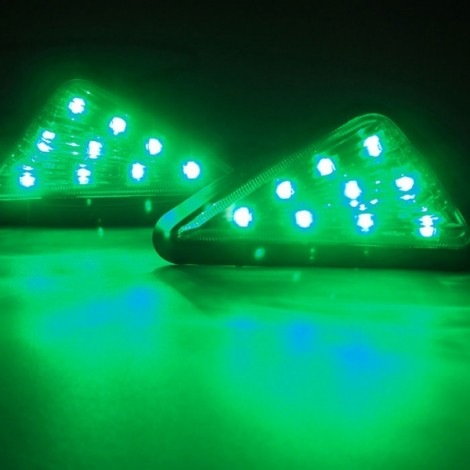 9-LED Green Light Motorcycle Triangle Light Turn Signal Light Indicator Smoke