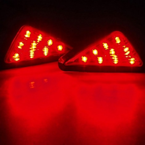 9-LED Red Light Motorcycle Triangle Light Turn Signal Light Indicator Smoke