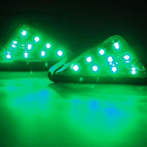 9-LED Green Light Motorcycle Triangle Light Turn Signal Light Indicator Transparent
