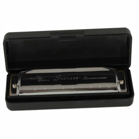 New Swan Key of G 10 Holes 20 Tone Diatonic Harmonica Silver for Student