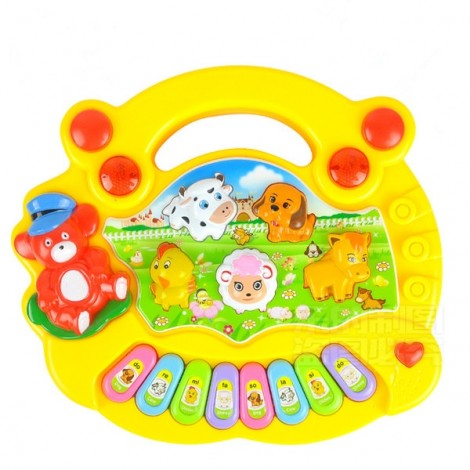 Baby Kids Animal Farm Keyboard Electrical Piano Child Musical Toy Yellow