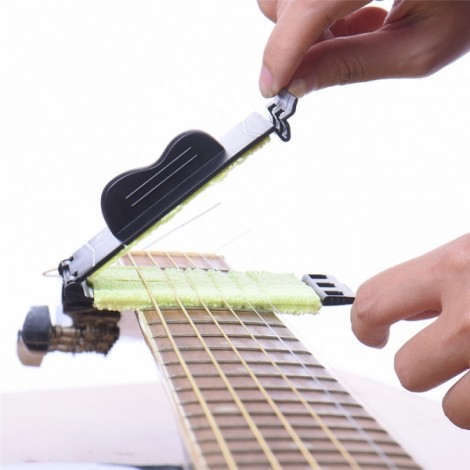 Guitar Strings Cleaner Washable Microfiber Fretboard Instrument Body Cleaning Tool Guitars Accessories Scrubber Green & Black