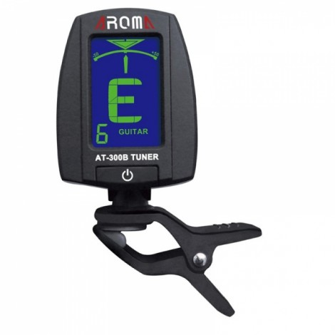 Rotatable 360-Degree Clip Tuner Portable LCD Digital Clip-On Electric Guitar Tuner Chromatic Bass Aroma AT-300B Black