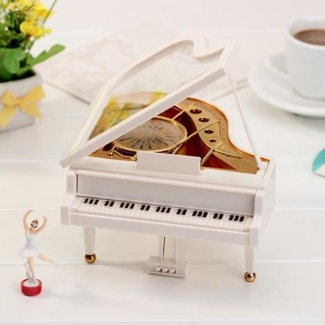 Mechanical Classical Piano Music Box Dancing Ballerina Birthday Christmas Gift White