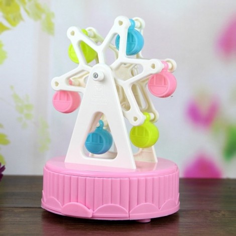 Creative Music Box Happiness Ferris Wheel Music Box Dynamic Rotary Music Box Home Decoration Pink & White