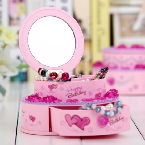 Creative Birthday Cake Shape Music Box Girl's Jewel Case Valentine Gift Home Decor Pink