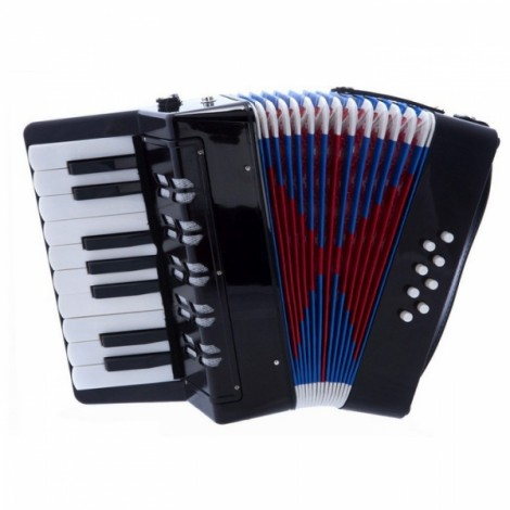 17-Key 8 Bass Mini Accordion Musical Instrument Toy for Kids Black