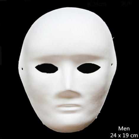 Halloween Cosplay Costume Party Man Mask Paper Pulp Mask for DIY White
