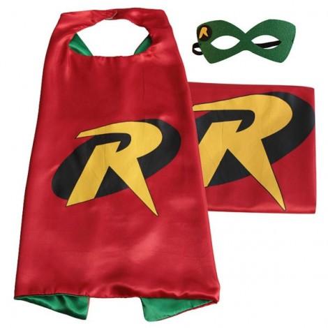Kids Costume Super Hero Cape & Mask Robin Children Boy Girl Cosplay Suit Red & Green