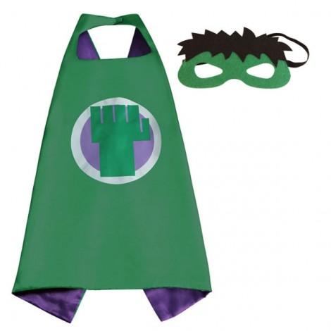 Kids Costume Super Hero Cape & Mask Hulk Children Boy Girl Cosplay Suit Green