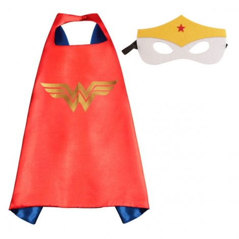 Kids Costume Super Hero Cape & Mask Wonder Woman Children Boy Girl Cosplay Suit Red & Blue
