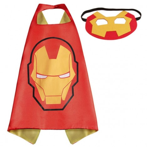Kids Costume Super Hero Cape & Mask Iron Man Children Boy Girl Cosplay Suit Red & Yellow