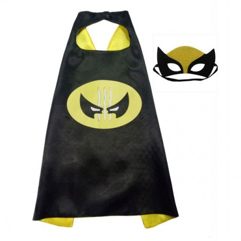 Kids Costume Super Hero Cape & Mask Wolverine Children Boy Girl Cosplay Suit Black & Yellow