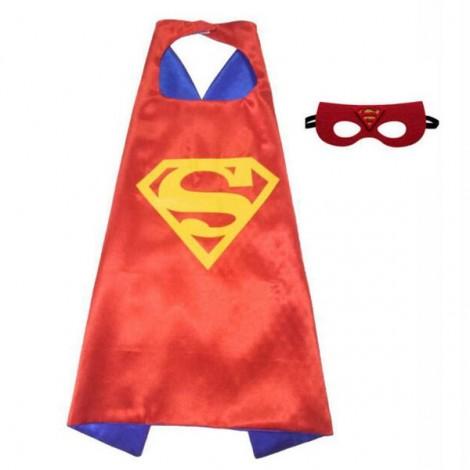 Kids Costume Super Hero Cape & Mask Superman Children Boy Girl Cosplay Suit Red