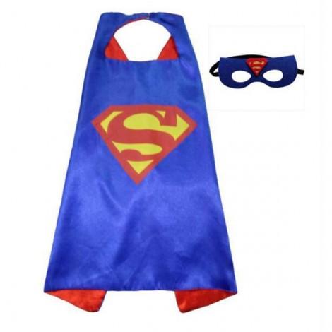 Kids Costume Super Hero Cape & Mask Superman Children Boy Girl Cosplay Suit Blue & Red