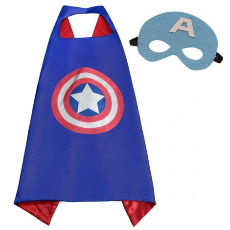 Kids Costume Super Hero Cape & Mask Captain America Children Boy Girl Cosplay Suit Blue & Red