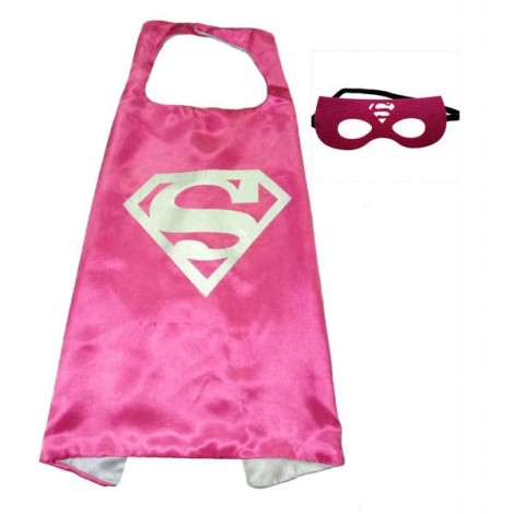 Kids Costume Super Hero Cape & Mask Superman Children Boy Girl Cosplay Suit Rose Red