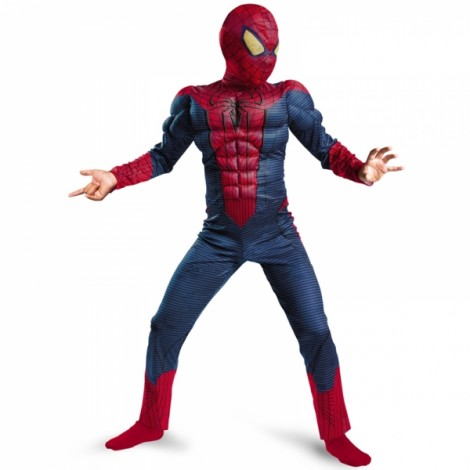 Children Halloween Costume Spiderman Muscle Cosplay Clothing Blue & Red L