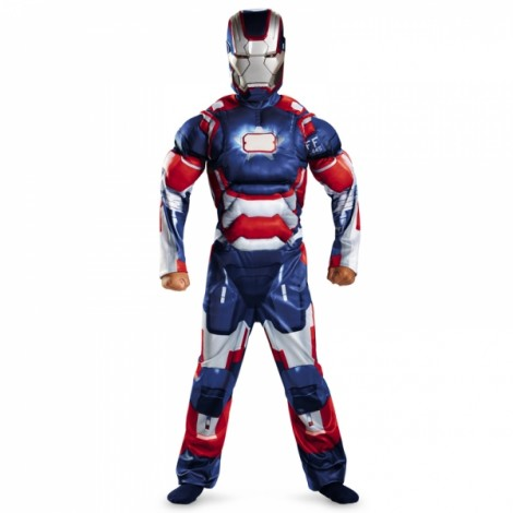 Children Halloween Costume Iron Man Muscle Cosplay Clothing Blue L