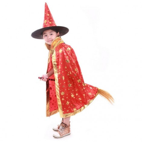 Halloween Costumes Stars Pattern Witch Wizard Cloak Gown Robe & Hat Cap Fancy Cosplay Suit Red
