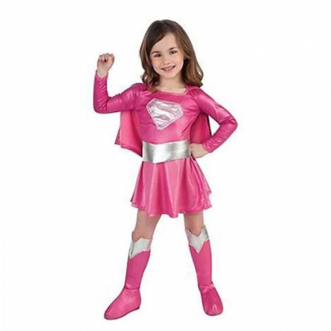 Halloween Cosplay Costume Superman Style Girl Dress Kit Pink L