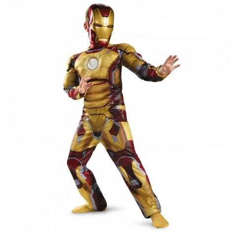 Children Halloween Costume Iron Man Muscle Cosplay Clothing Yellow L