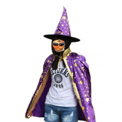 Halloween Costumes Stars Pattern Witch Wizard Cloak Gown Robe & Hat Cap Fancy Cosplay Suit Purple