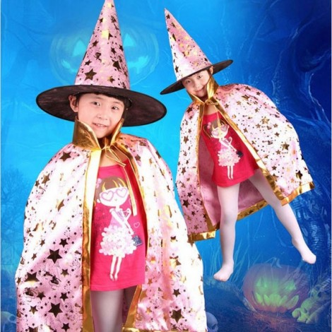 Halloween Costumes Stars Pattern Witch Wizard Cloak Gown Robe & Hat Cap Fancy Cosplay Suit Pink