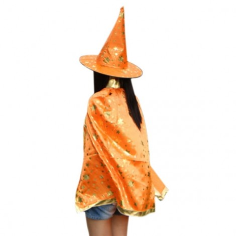Halloween Costumes Stars Pattern Witch Wizard Cloak Gown Robe & Hat Cap Fancy Cosplay Suit Orange