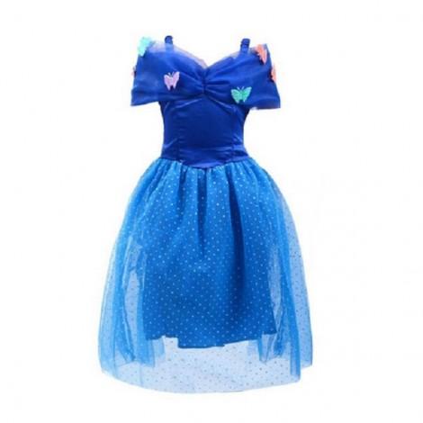 120cm Elegant Princess Cinderella Party Costume Dress Blue