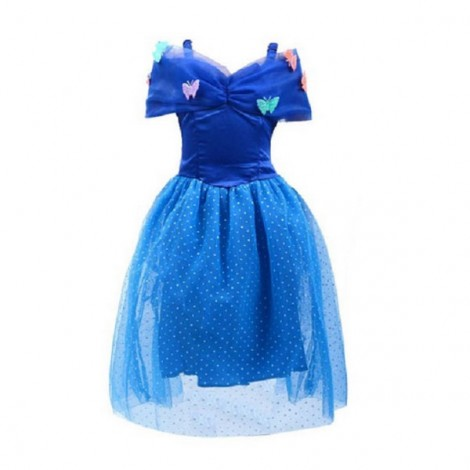 110cm Elegant Princess Cinderella Party Costume Dress Blue