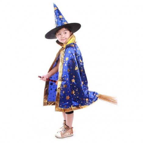 Halloween Costumes Stars Pattern Witch Wizard Cloak Gown Robe & Hat Cap Fancy Cosplay Suit Royalblue