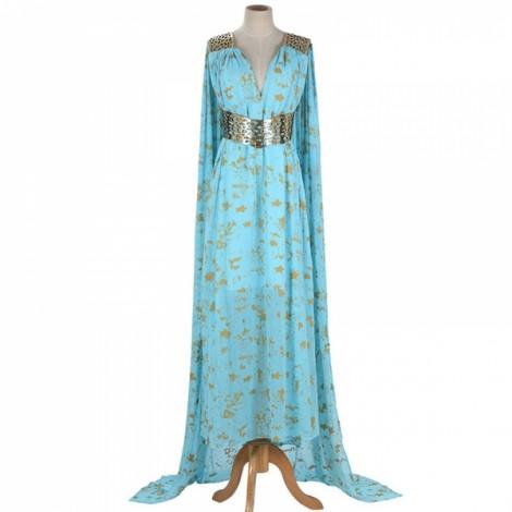 Game of Thrones Daenerys Targaryen Mother of Dragons Blue Dress Cosplay Costume L