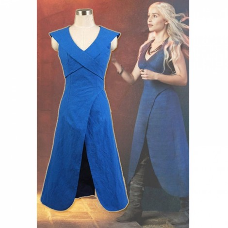 Game of Thrones Daenerys Targaryen Linen Blue Dress Cosplay Costume XL