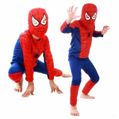 Children Party Cosplay Costume Boys Girls Kids Clothes Spider Man Clothing Set Halloween Gift Red & Blue L