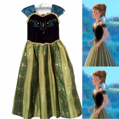 Disney Frozen Princess Anna Kids Girls Cosplay Costume Gown Deluxe Dress #110cm