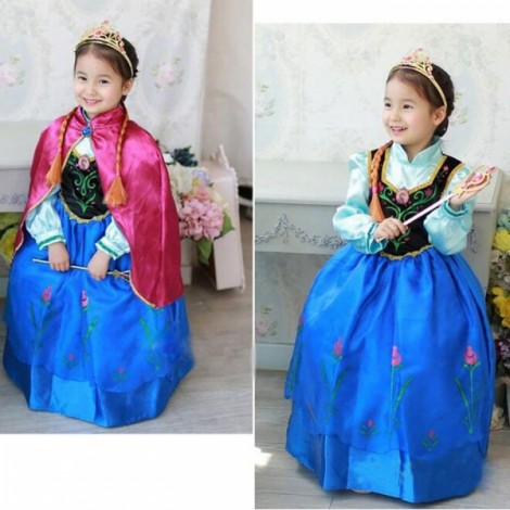 Frozen Anna Disney Inspired Dress with Cape Princess Costume 140cm Blue & Pink
