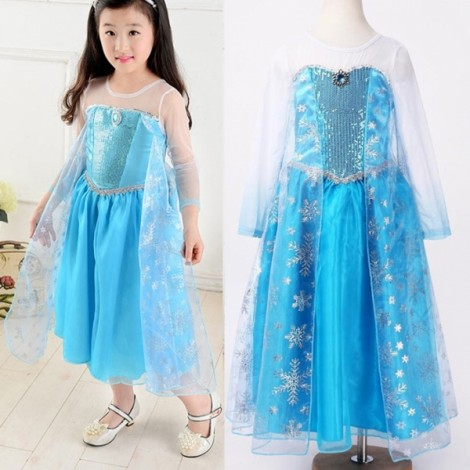 Frozen Princess Girls Queen Elsa Cosplay Fancy Dress Costume 100cm White & Blue