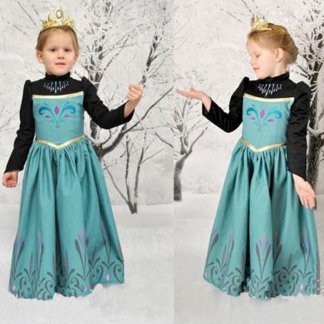 Frozen Anna Disney Inspired Dress Princess Costume Embroidery Dress 140cm