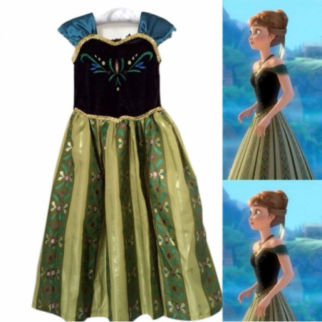 Disney Frozen Princess Anna Kids Girls Cosplay Costume Gown Deluxe Dress #130cm