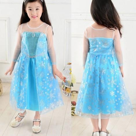 Frozen Princess Girls Queen Elsa Cosplay Fancy Dress Costume 120cm White & Blue