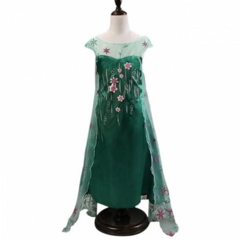 Girl Snow Princess Elsa Dress Costume with Flower Glittering Cape 140cm Green