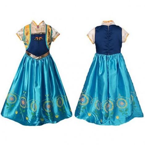 Girls' Princess Elsa Costume Party Lace Dress Sunflower Decoration Dress 140cm